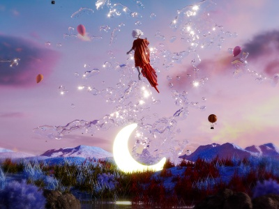 floating. surrealism wind dress water mountain dreamy sky floating illustration render abstract colorful 3dart cgi 3d digitalart