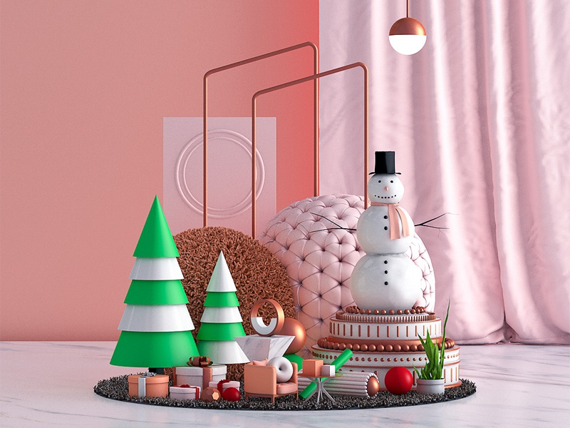 christmas. gold tree snowman christmas vector 3d artist illustration design triangles lines sphere circles texture geometry abstract colorful 3dart cgi 3d digitalart