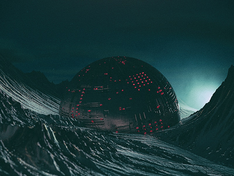 lost. mountains red dark galaxy planet black sphere geometry design illustration digitalart render colorful cgi lost astronaut abstract 3ddesign 3dart 3d