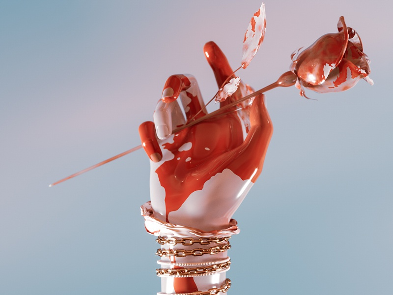 wounded. rose gold blend sky rope blood chain gold chrome hand rose 3d art illustration shapes abstract render colorful 3dart cgi 3d digitalart