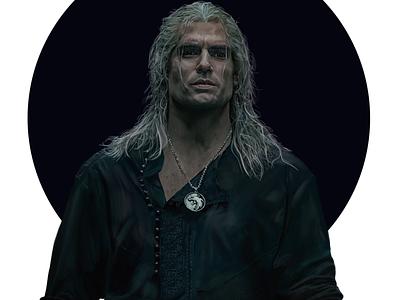 Geralt of Rivia Poster netflix photoshop art photoshop design illustration painting geralt witcher