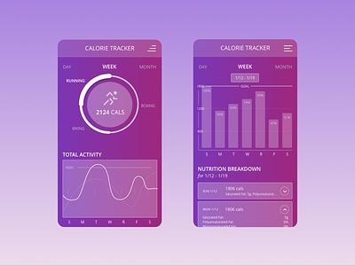 UI Concept - Calorie Tracker concept app interface design application design application ui app branding app gradient ux  ui ux ux design uidesign ui  ux design