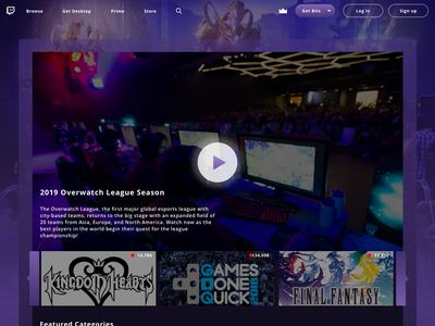 Twitch Homepage Redesign video games gaming game website redesign website design website redesign logo ui  ux design design branding ux  ui ux ux design uidesign twitchcon twitch overlay twitch logo twitch.tv twitch