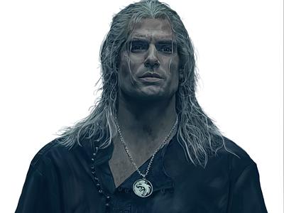 Geralt of Rivia netflix digital painting witcher geralt painting art