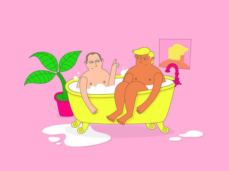 Bath men pink illustration character colourful colour