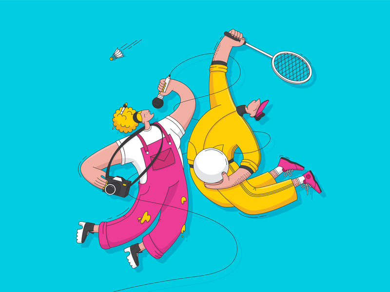 Sports and culture movement colour character people illustration art illustration culture sports