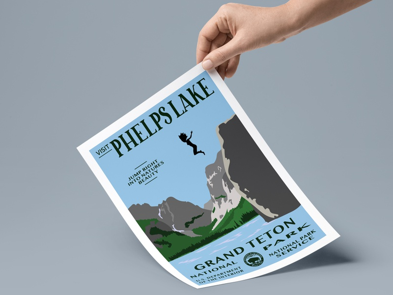Visit Phelps Lake teton grand teton mountain lake national parks national park nature flat vector typography illustrator design