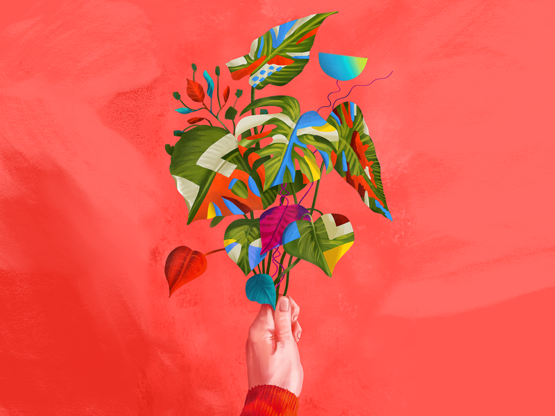 leaves painting study digital painting photoshop digital art color colorful painting illustration