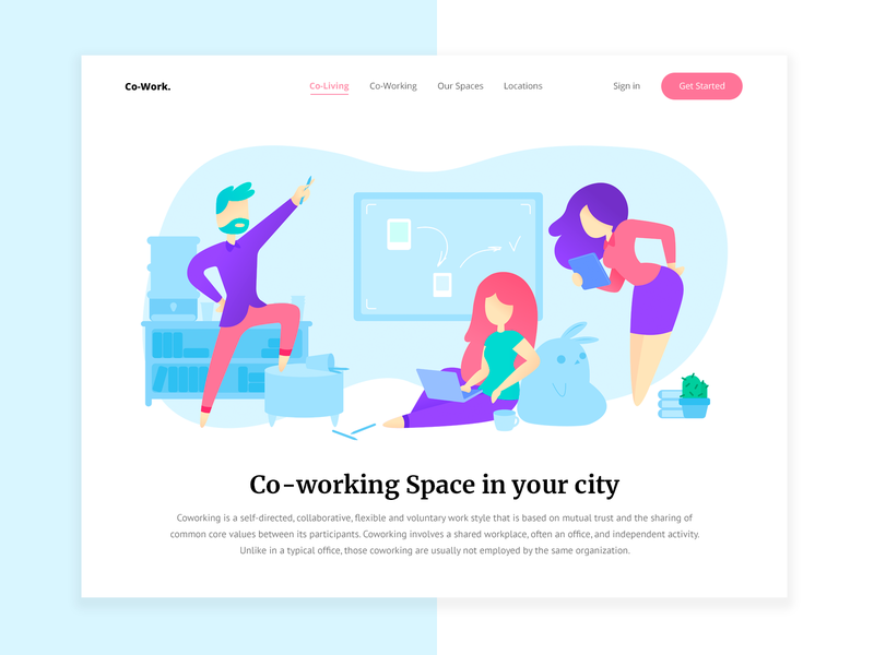 Co-working home page interface uidesign minimal sketch web website design vector workplace co-working site website design ux ui illustration