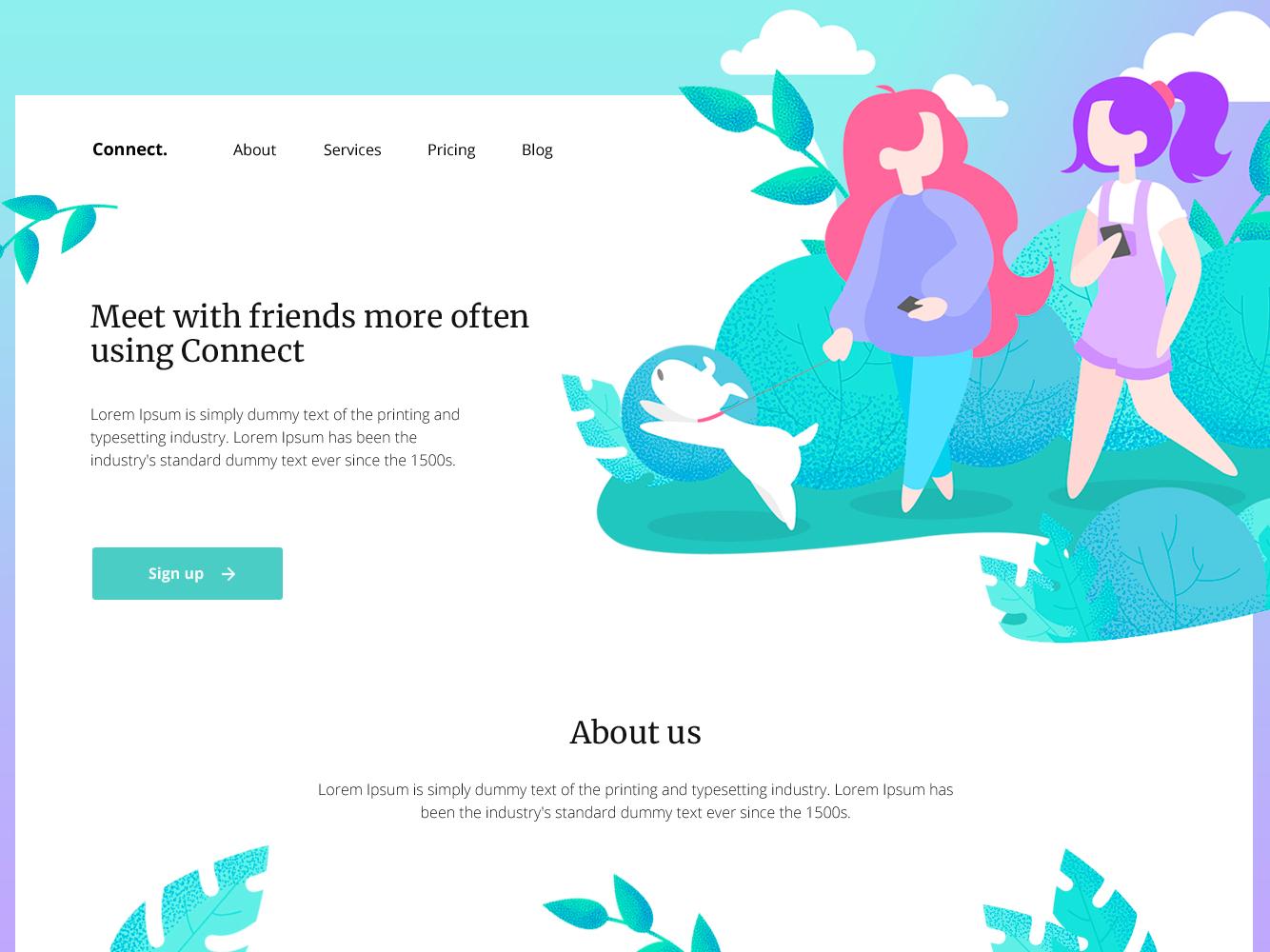 Connect home page website design website web vector ux uidesign ui sketch site minimal interface illustration design