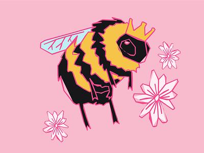 Wild Little Honey Bee handmade san antonio texan distressed flowers buzz girly pink character adorable kawaii cute honey honey bee illustration bee