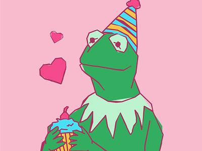 Birthday Kermit san antonio texan kawaii cute adorable handmade distressed birthday girly pink character sesame street kermit