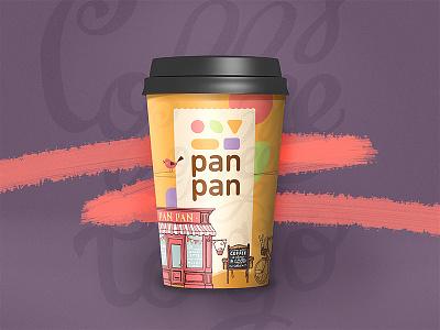 panpan takeaway cup sweet cartoon brand logo caffee coffe coffee cup package cup takeaway take away coffee
