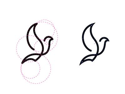 Bird in Grid wings pigeon peace line minimal grid logo bird