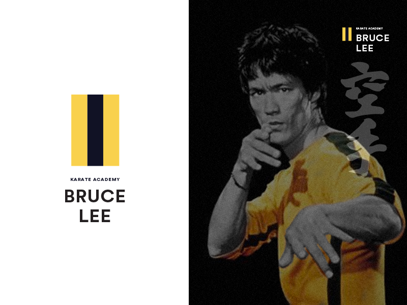 Bruce Lee kungfu arts martial stripe yellow fight logo karate lee brucelee