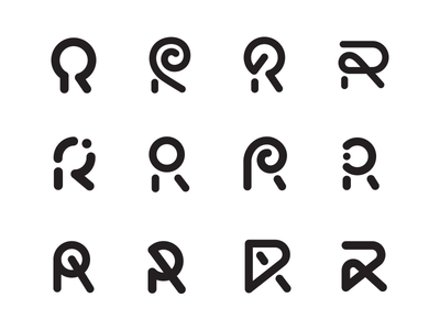 R Exploration swirl spiral exploration experiment round circle letter monogram logo r