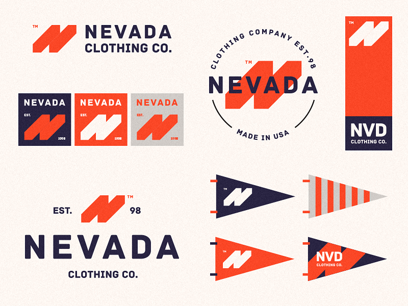 Nevada Clothing Co. american usa n logo monogram logo classic orange brand clothes n clothing nevada