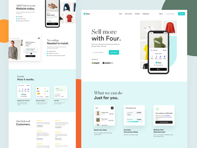 Pay with Four - Landing page payments payment ui clothing label landing page ecommerce fashion clothing landing app website webdesign redesign clean modern
