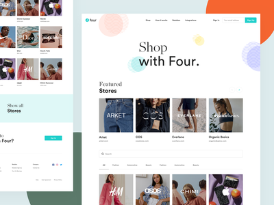 Pay with Four - Stores four ecommerce clothing fashion payment pay photos simple app webdesign website redesign clean ui modern