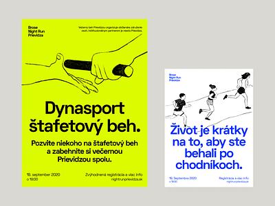 Night Run illustrations logo run typography clean modern