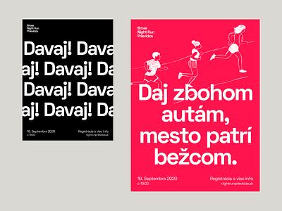 Night Run illustrations typography logo run identity flyer clean modern