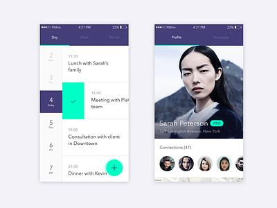 Events App day profile calendar task tasks event platform app ios ui