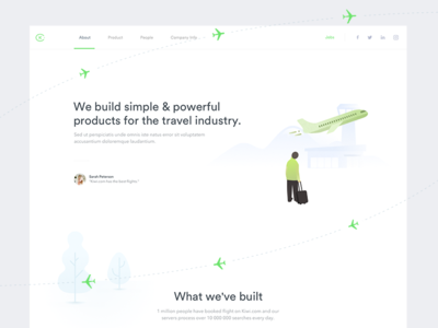 Kiwi.com About Landing Page illustration green landing page airplane plane kiwi.com kiwi landing about us