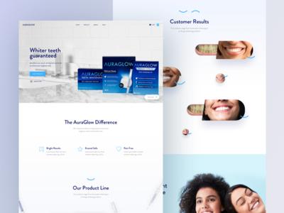 Auraglow - Landing Page clean dental glowing whitening teeth glow teeth whitening webdesign ui auraglow