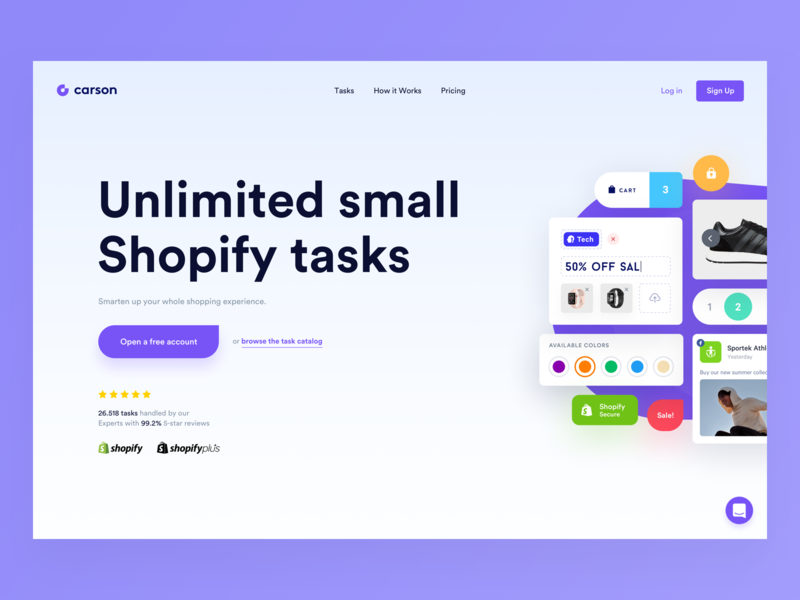 Carson Landing webdesign app simple redesign website shopify store shopify ui clean modern