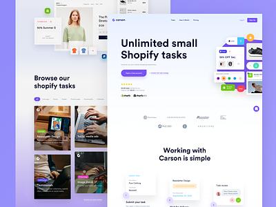 Carson - Landing page shopify platform app clean ui webdesign redesign website modern