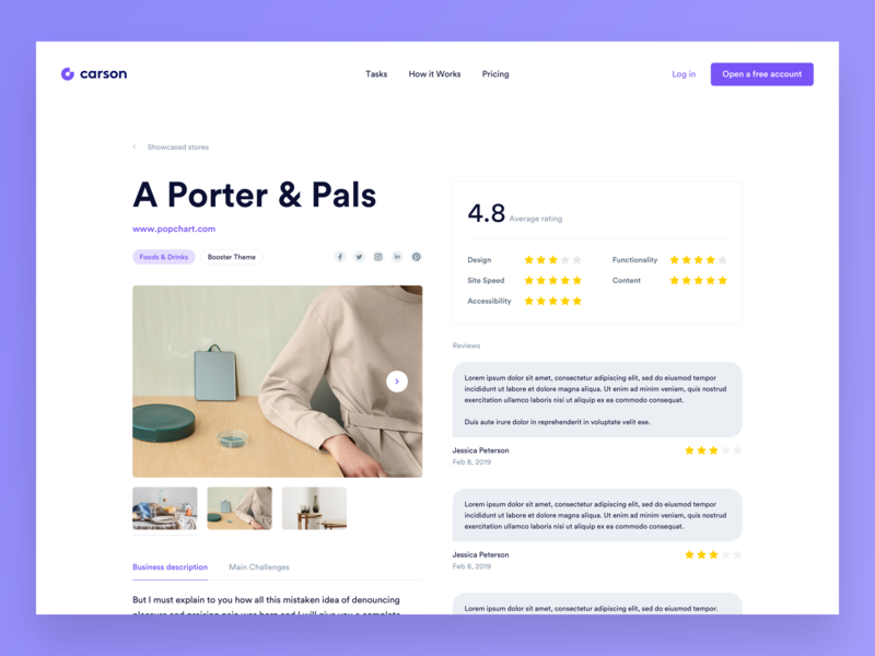 Carson - Store Showcase platform app ui webdesign simple redesign website clean modern