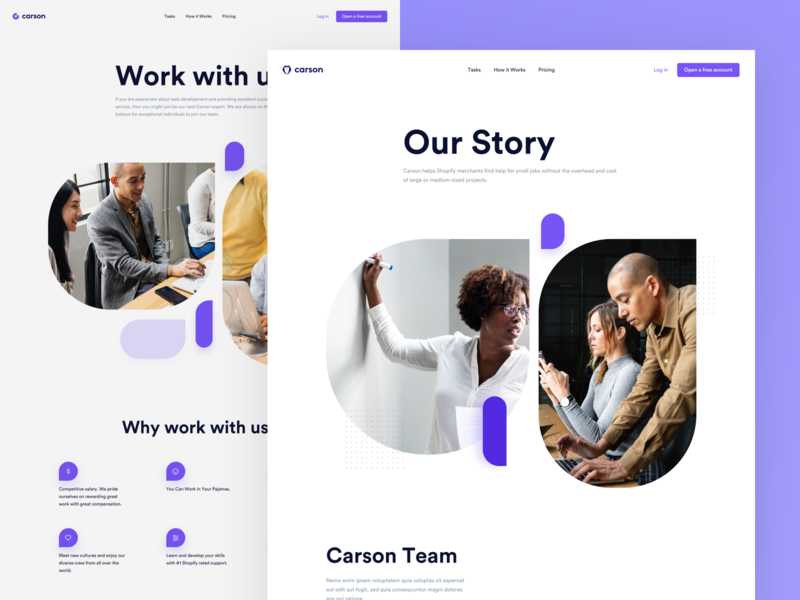 Carson - About, Careers page careers about redesign platform webdesign website ui app clean modern
