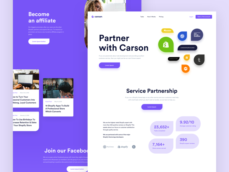Carson - Partners page shopify theme shopify partners webdesign simple redesign platform website app ui clean modern