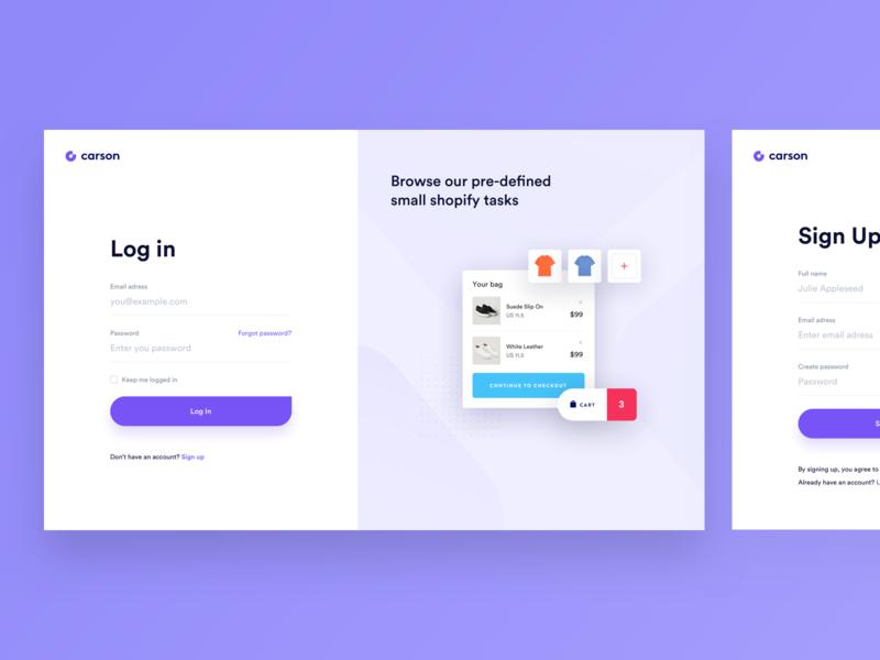 Carson - Onboarding registration login onboarding webdesign simple redesign platform website app ui clean modern