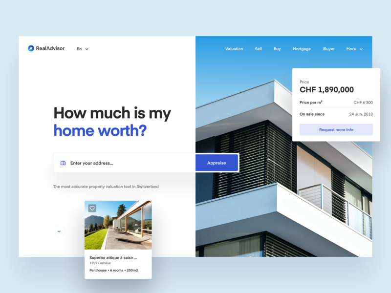 Real Advisor Homepage Exploration 01 real estate redesign ui webdesign balkan brothers home modern house architecture house simple clean modern