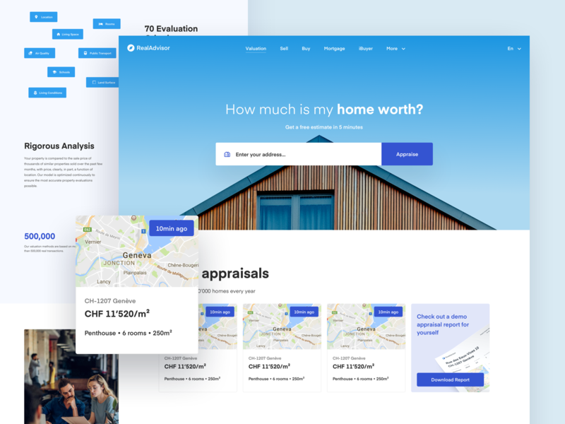 Real Advisor Valuation Page clean ui simple architecture real estate modern house home webdesign redesign website clean modern