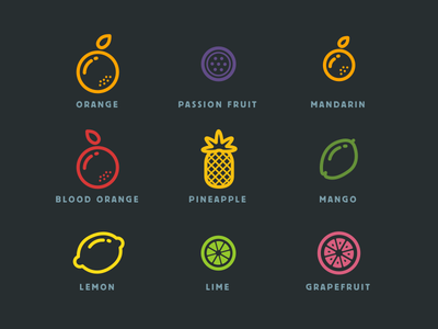 Fruit icons fruit icon lines hungry