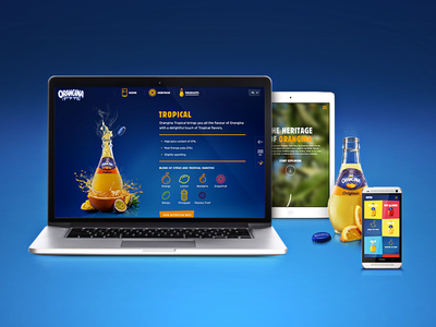The new Orangina.eu colorful animation grid responsive fruit fullscreen