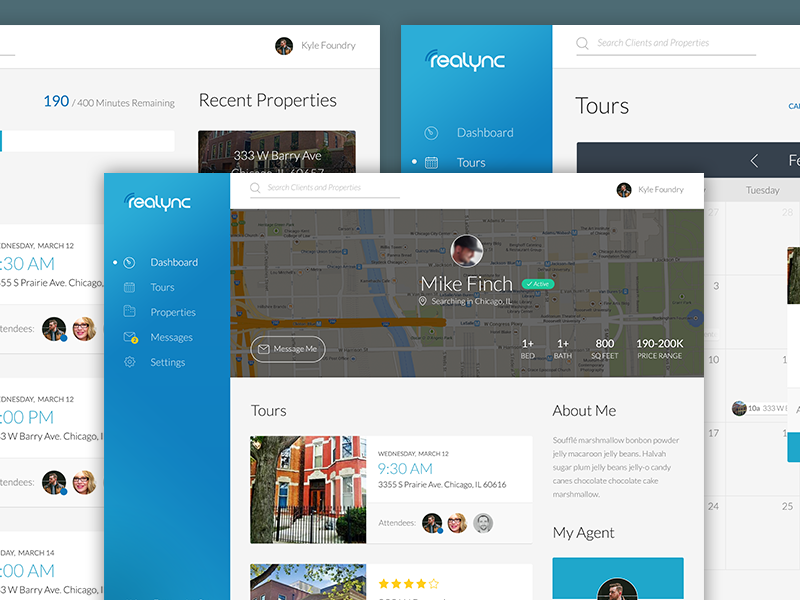 ReaLync (WIP) ux ui web app user interface dashboard profile calendar real-estate