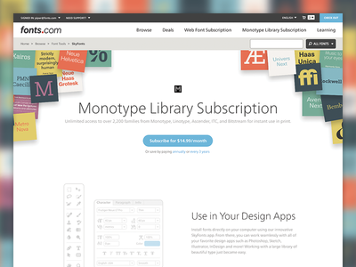 Introducing: Monotype Library Subscription typography monotype illustrations saas subscription fonts web ui