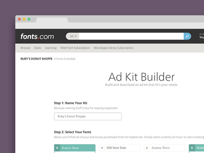 Digital Ad Kit Builder type subset kit creator kit html5 digital ads monotype fonts