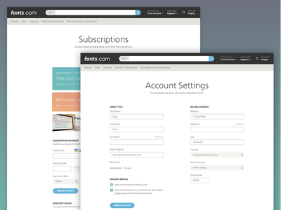 Account Pages settings password credit card subscriptions account