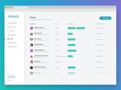 Realync – Users data ux users app ui web