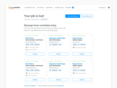 Published Job jobs sourcing recruiting publish card ux ui web