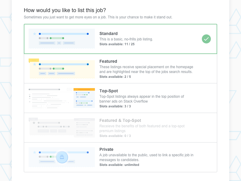 Listing A Job by Piper Lawson for Stack Overflow on Dribbble