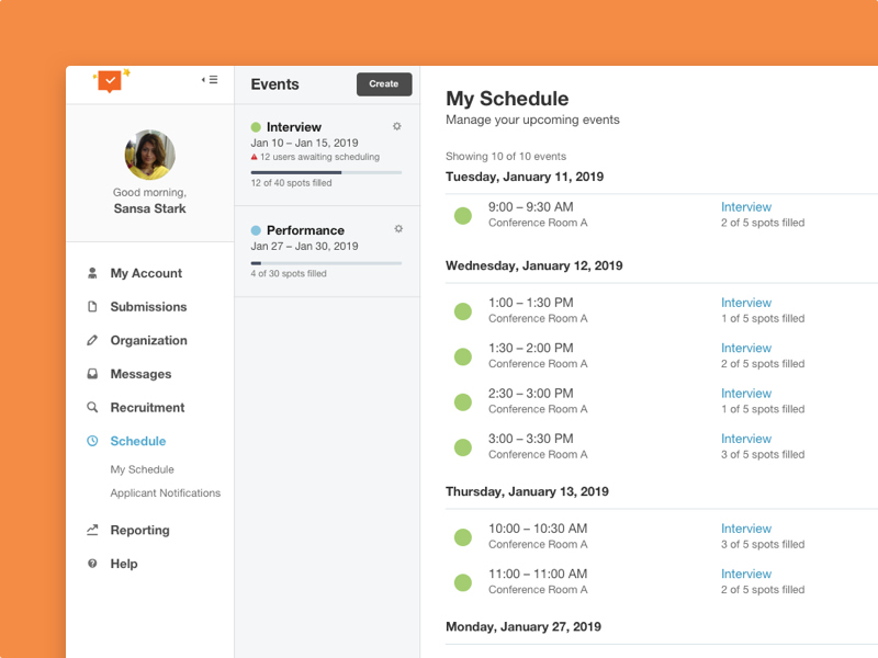 Itinerary events sidebar dates itinerary calendar schedule web app web ux ui