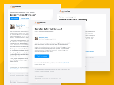 Stack Overflow Talent Emails job board message ux ui transactional email design email