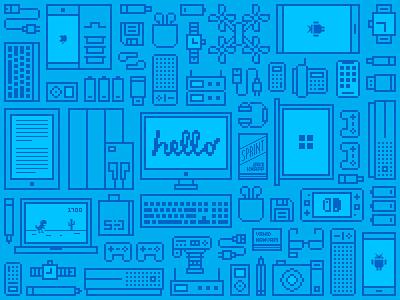 Sayman Digital — Pattern iran sprint tehran tabriz apple hello gadgets pixel 8bit illustration pattern icons