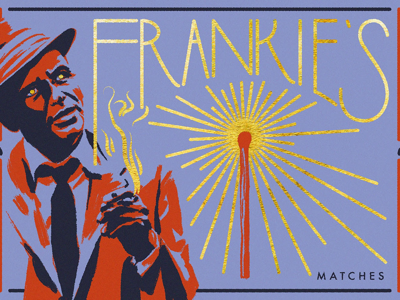 Frankies's Matches art deco gold illuustration vintage art matchbox portrait adobe illustrator adobe photoshop digital illustration sinatra matches