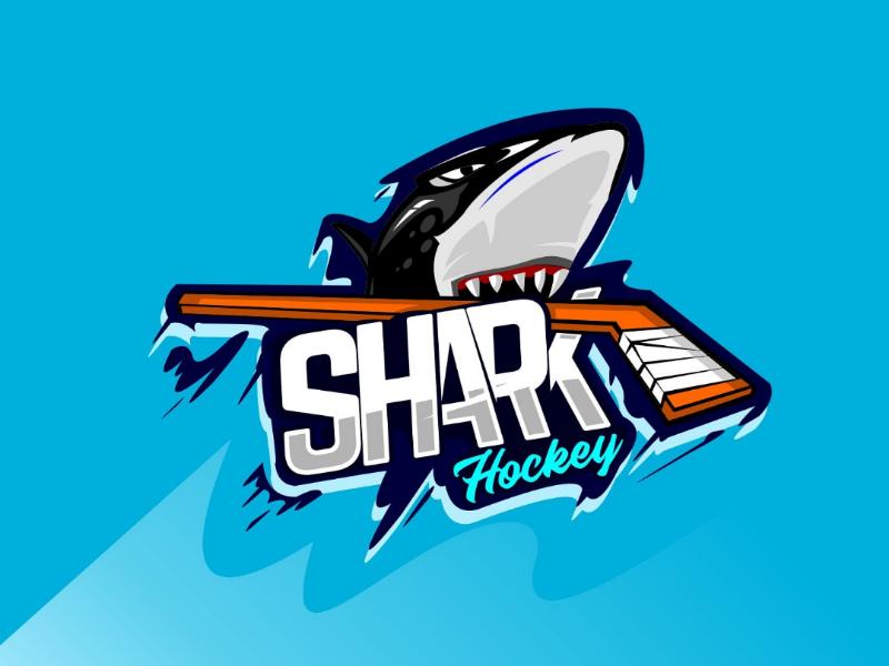 Shark hockey team hockey stick hockey graphic game fish emblem design dangerous club character cartoon blue big badge background arm animals animal angry anger